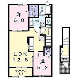青森県十和田市西六番町の賃貸アパートの間取り
