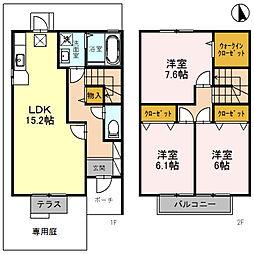 [テラスハウス] 兵庫県神戸市垂水区福田2丁目 の賃貸【/】の間取り