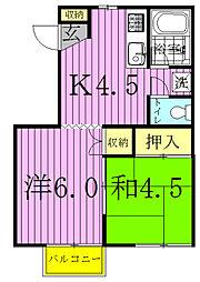千葉県流山市松ケ丘2の賃貸アパートの間取り