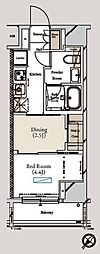 東京メトロ有楽町線 月島駅 徒歩1分の賃貸マンション 2階1DKの間取り