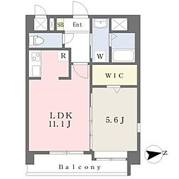 JR鹿児島本線 熊本駅 徒歩19分の賃貸マンション 6階1LDKの間取り