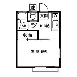 福聚荘[201号室]の間取り