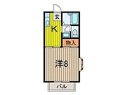 埼玉県戸田市喜沢2丁目の賃貸アパートの間取り