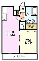 JR中央線 国分寺駅 徒歩9分の賃貸アパート 2階1LDKの間取り