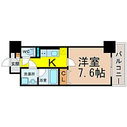 愛知県名古屋市中川区尾頭橋4丁目の賃貸マンションの間取り