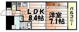 No65 クロッシングタワー[2105号室]の間取り