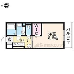 近鉄京都線 上鳥羽口駅 徒歩4分の賃貸マンション 3階1Kの間取り
