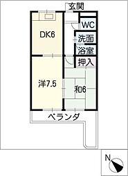 マンション横井[4階]の間取り