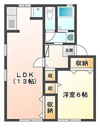 セジュール江島本町[1階]の間取り