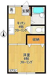 神奈川県川崎市多摩区宿河原5丁目の賃貸アパートの間取り