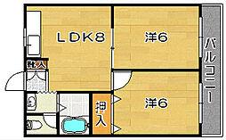 サンワロイヤルマンション[405号室]の間取り