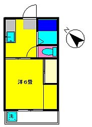 東京都調布市東つつじケ丘2丁目の賃貸アパートの間取り