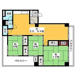 リバーマンション[3階]の間取り