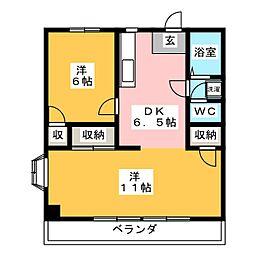 スカイコートI[1階]の間取り