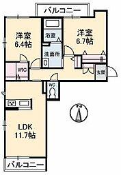 岡山県岡山市北区今5丁目の賃貸アパートの間取り
