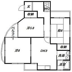 静岡県浜松市中区鴨江3の賃貸アパートの間取り