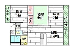 三杉プチシャトー[3階]の間取り