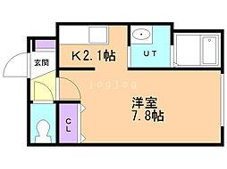 クレアメゾン東札幌 2階1Kの間取り