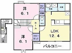 東京都青梅市梅郷5丁目の賃貸アパートの間取り