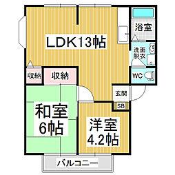 サンビレッジ・キヨミ[1階]の間取り