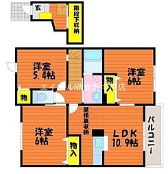 岡山県岡山市北区東花尻の賃貸アパートの間取り