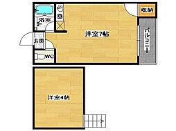 福岡県福岡市博多区上呉服町の賃貸アパートの間取り