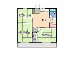 栃木県宇都宮市大塚町の賃貸アパートの間取り