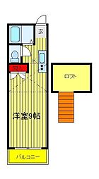メゾン・デ・シャルム逆井[203号室]の間取り