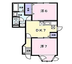 岡山県岡山市東区神崎町の賃貸アパートの間取り