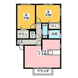 スピリア・ヒビツ A棟[2階]の間取り