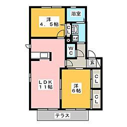 ポワンドゥール大林[1階]の間取り