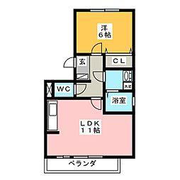 サンDEセジュール[2階]の間取り