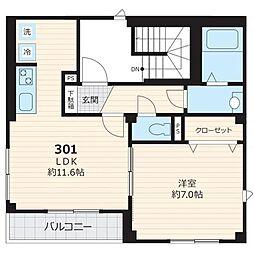 都営三田線 白金台駅 徒歩12分の賃貸マンション 3階1LDKの間取り