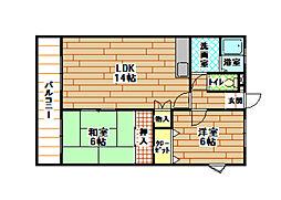 福岡県北九州市小倉南区湯川新町3丁目の賃貸マンションの間取り