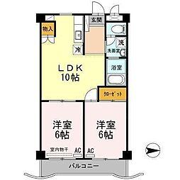 広島県福山市大門町2丁目の賃貸アパートの間取り