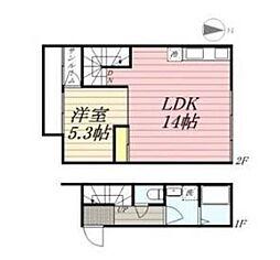 JR久大本線 久留米大学前駅 徒歩12分の賃貸アパート 1階1LDKの間取り