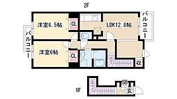 愛知県名古屋市緑区相原郷2丁目の賃貸アパートの間取り