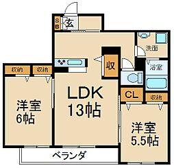 大阪府枚方市東中振2丁目の賃貸アパートの間取り