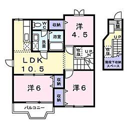 JR総武本線 八街駅 徒歩12分の賃貸アパート 2階3LDKの間取り