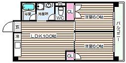 シャトー西梅田[9階]の間取り