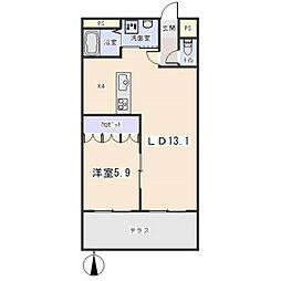 愛知県岡崎市緑丘3の賃貸アパートの間取り