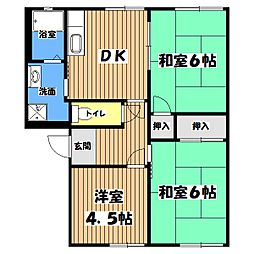 東京都羽村市神明台2丁目の賃貸アパートの間取り