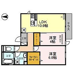 はぁ〜と・六万寺[2階]の間取り