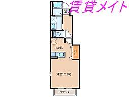 三重県伊勢市黒瀬町の賃貸アパートの間取り