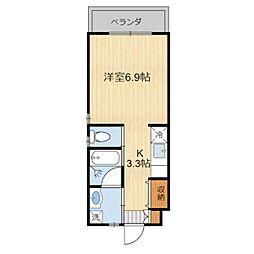 (仮)金城様共同住宅(201) 2階1Kの間取り