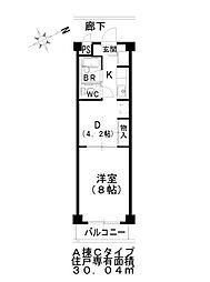 アートプラザ清武 4階1DKの間取り