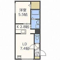 グランメール24軒1-2D[4階]の間取り