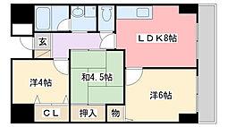 兵庫県姫路市南条の賃貸マンションの間取り
