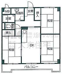 大阪府八尾市高美町3丁目の賃貸アパートの間取り