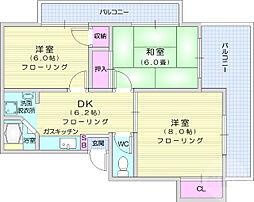 仙台市地下鉄東西線 八木山動物公園駅 徒歩27分の賃貸マンション 2階3DKの間取り